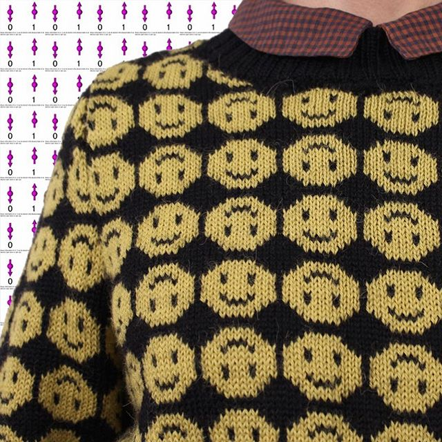 "Smiletaneous Sweater // emoji pattern inspired by the concept of #superposition // made to order in custom sizing  Electron image text reads: ""Binary information (0 or 1 can be stored in the physical state of an electron (spin down or up.)"" // image from The Perimeter Institute for Theoretical Physics website  Dm or contact through incacolors.com for pricing"
