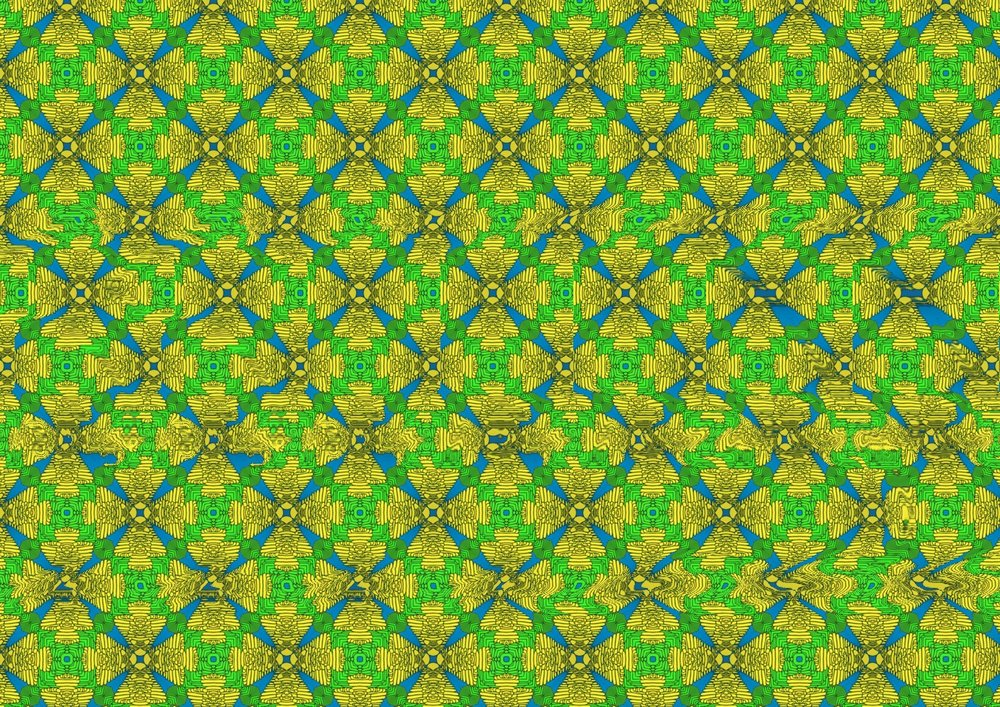 Organ Corti Stereogram, 2019. I interpreted a photograph from the Salk Institute of organ corti (auditory hair cells) of an animal to create this pattern. The silhouette of the animal is hidden within the pattern as a stereoscopic image. For instructions on how to view it, please see the end of this post.