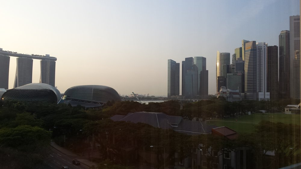 the view from the Swissotel, where stayed on my first trip to Singapore. Downstairs near the taxi rank was where I first said I love you, and where I would propose 4.5 years later