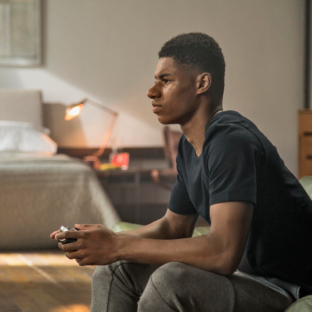 Marcus Rashford filming for XBOX