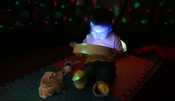 Child using a lightbox