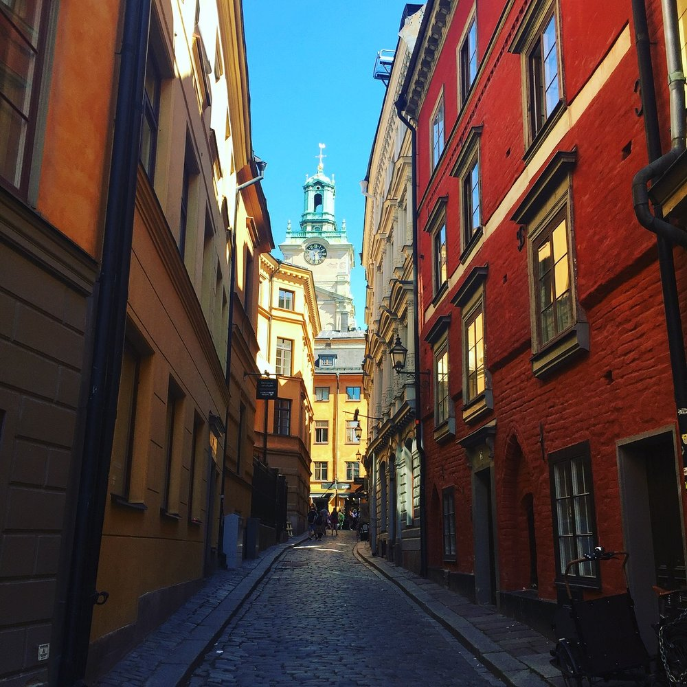 Gamla stan, Stockholm, July 2018. Beautiful architecture of the old town.