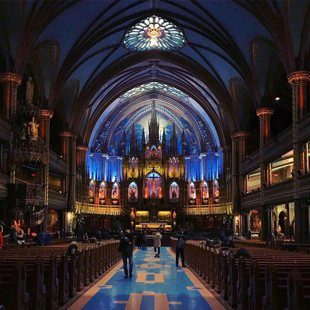 Inside Notre-Dame Basilica.