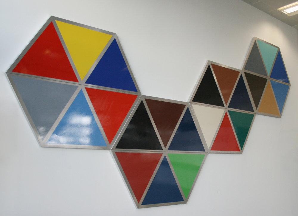 "Higher I , high gloss enamel spray paint on aluminum sheet, 122"" x 236"" x 1.97"", London, 2012"