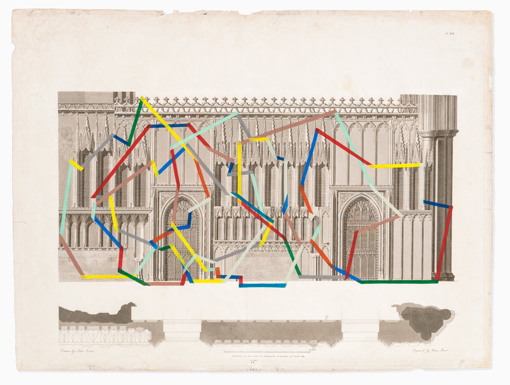 "SF No. 32, Church , acrylic, blind-embossing on original antique print, 20.25"" x 26.5"", San Francisco, 2018"