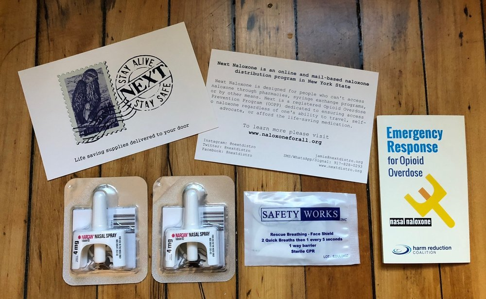 - What will be mailed to New York State residents:Two doses of intranasal Narcan brand naloxoneA rescue shield for rescue breathingCertificate of completion