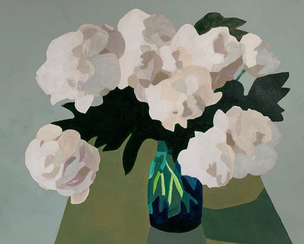 white peonies, blue glass
