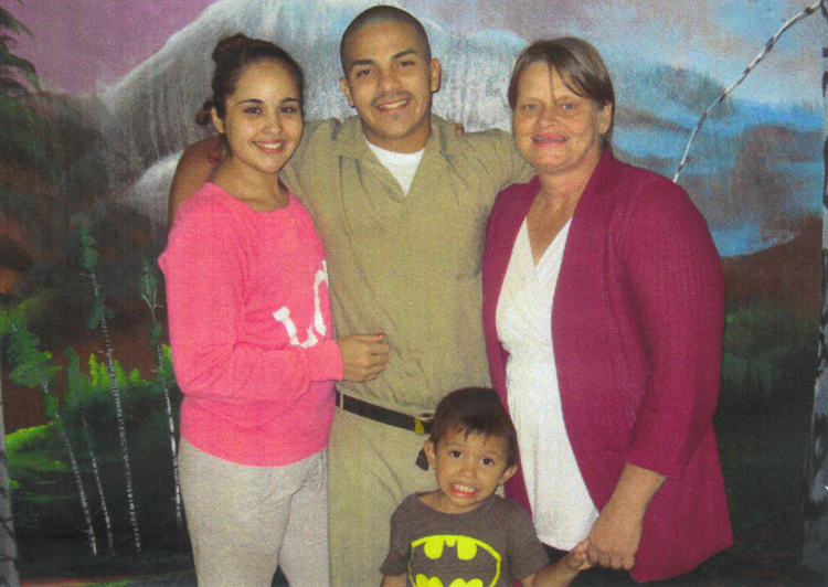 Anthony's girlfriend Erika, Anthony, Cheryle, and Anthony's cousin Hunter Abul-Husn at the Wabash County Correctional Center, Indiana. Image courtesy Cheryle Abul-Husn.