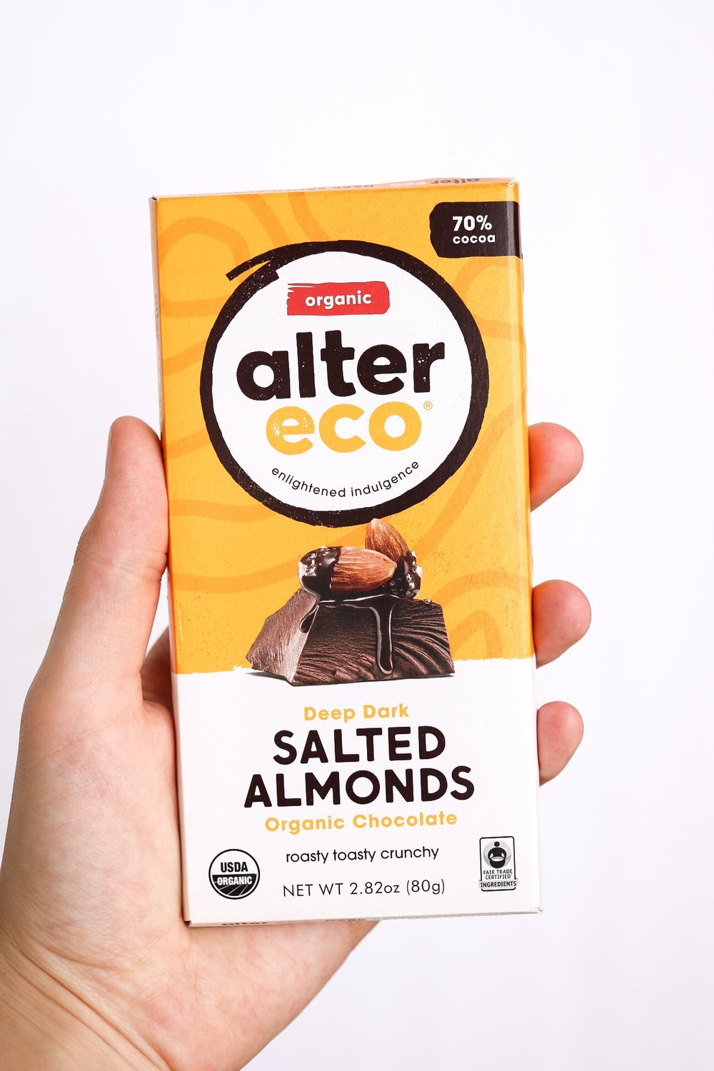 This is the salted almond dark chocolate that I used from Alter Eco - probably my favorite flavor!