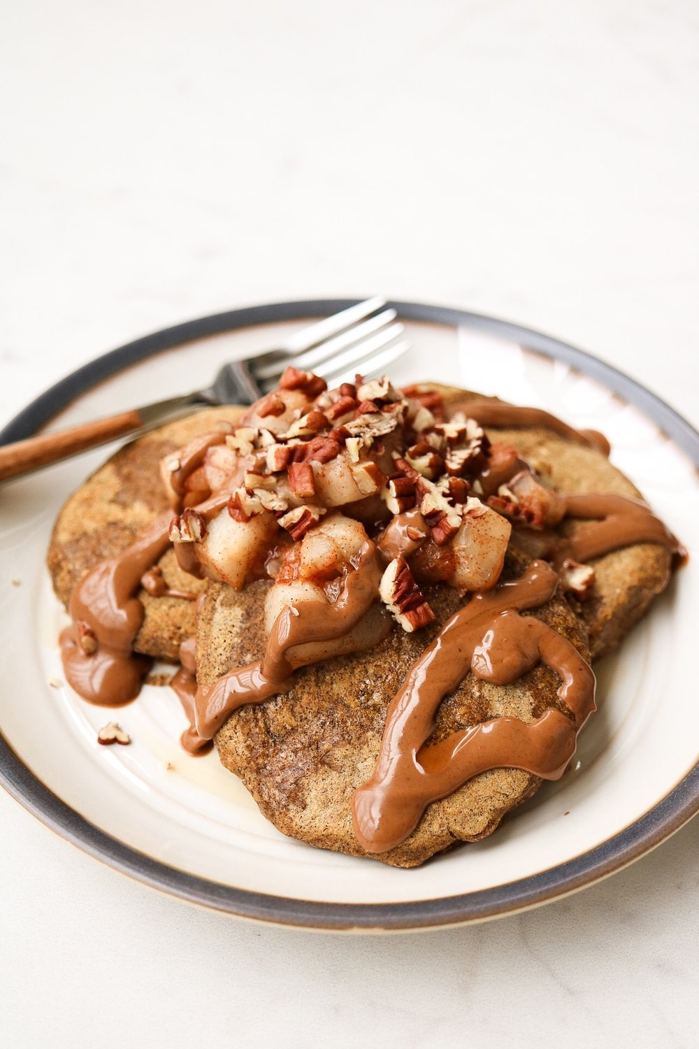 I topped mine with maple syrup, pecans, sautéed pear, and caramel cashew butter.  Fancy, I know .