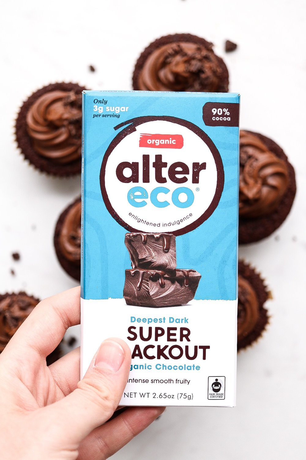 I used Alter Eco's Super Blackout dark chocolate in my batter - but it's up to you!