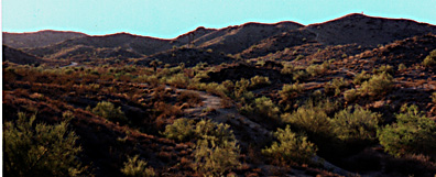 Lower Pima Canyon, looking west from the parking lot.  ©1998 Cliff Drowley