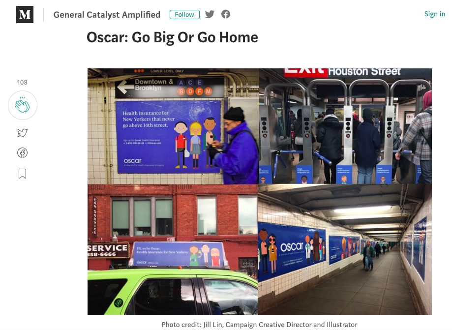 - Oscar became an example in many case studies across the industry of how marketing can change the way people look at industries as unexciting as health insurance and breath some personality into it. Read article here. Or Inc article here.