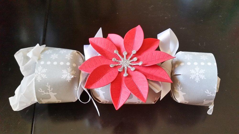 """Poinsettia """"cracker"""" Christmas party favor"""