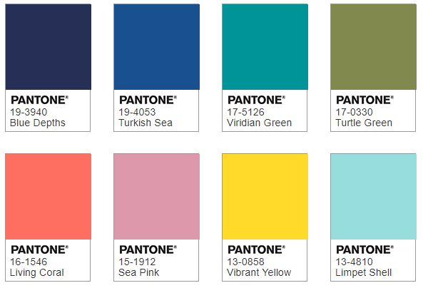 Pantone UNDER THE SEA color combination