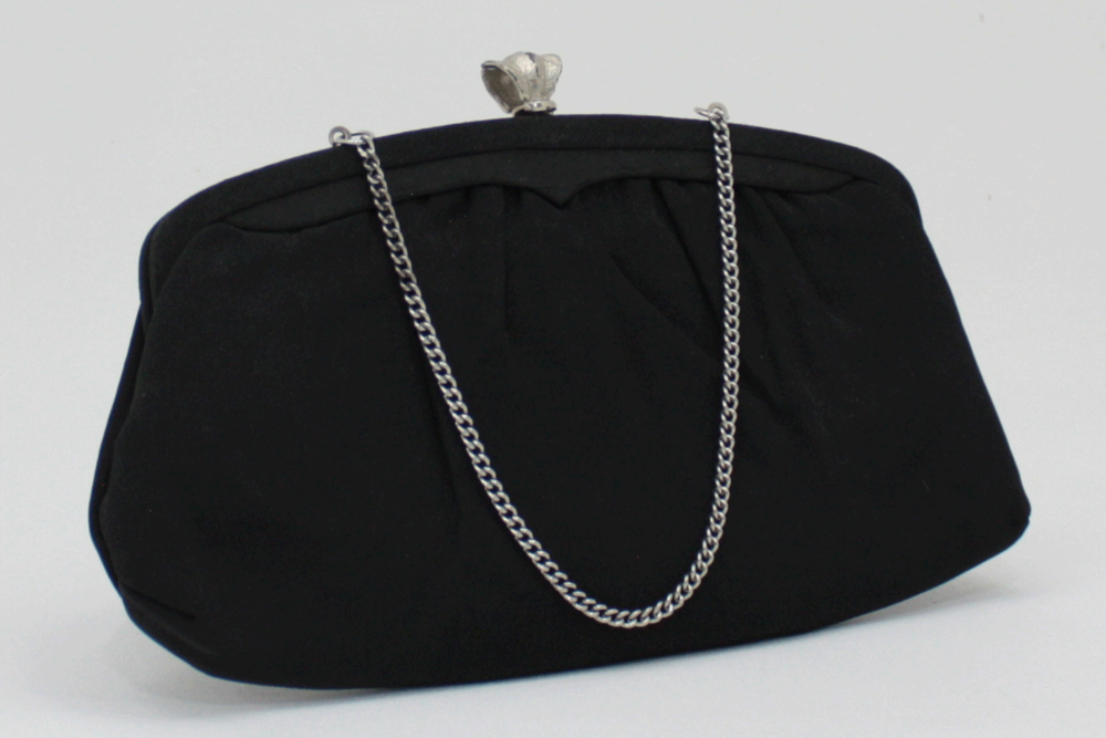 967a4016b867 Vintage Black Evening Bag Matte Satin and Silver Clutch Purse — High ...