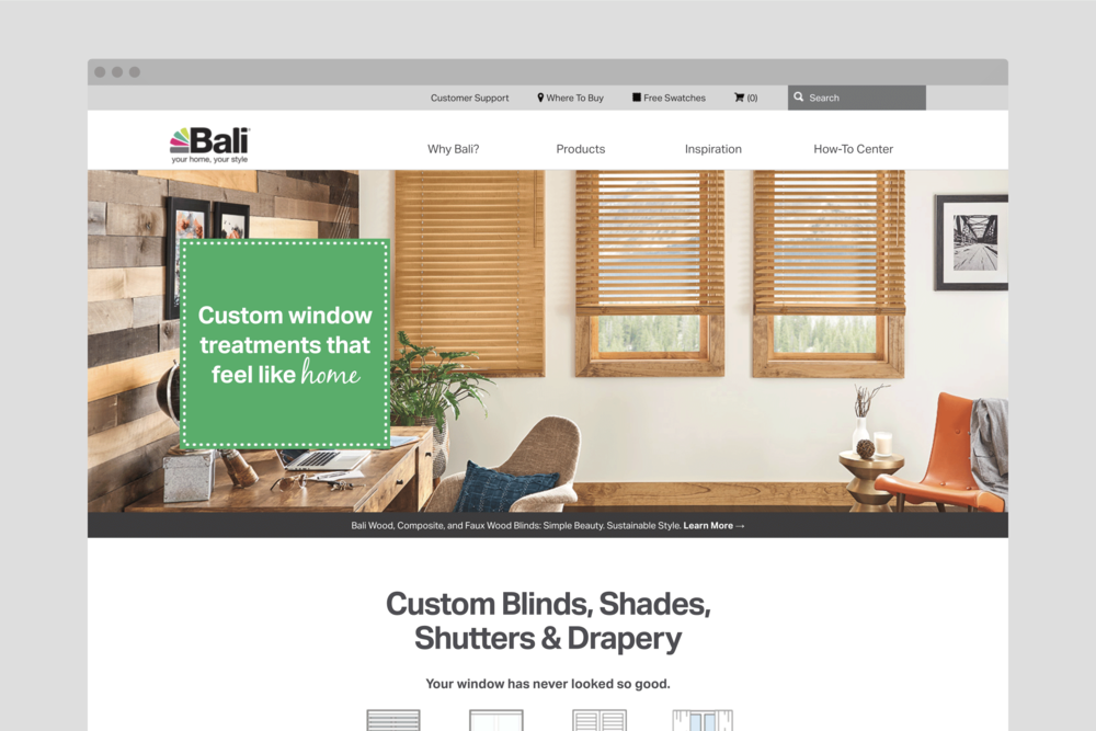 Baliblinds.com Home page