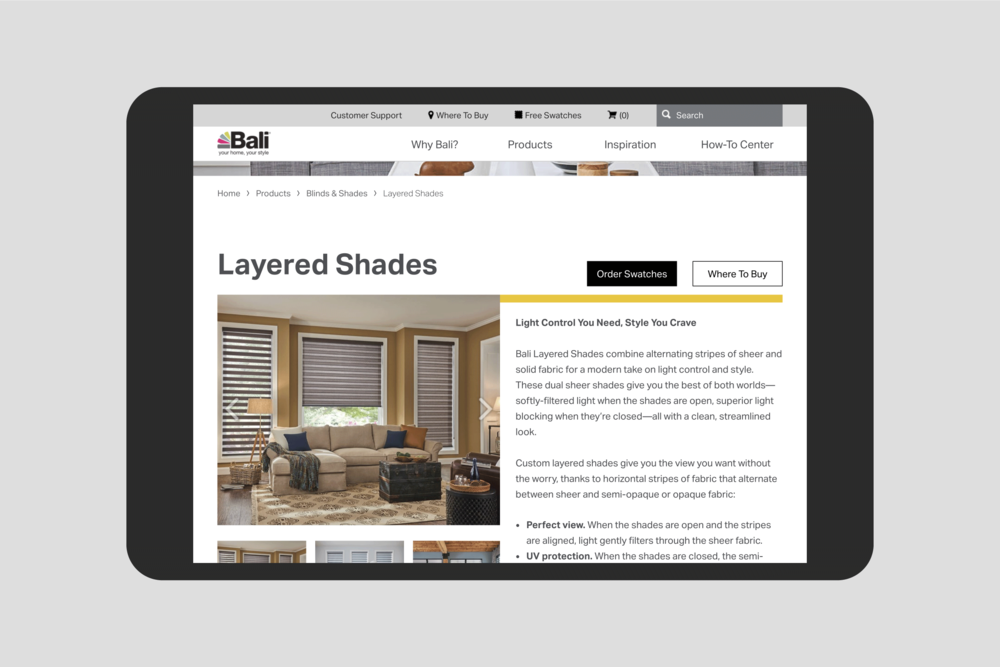 Baliblinds.com Layered Shades product page