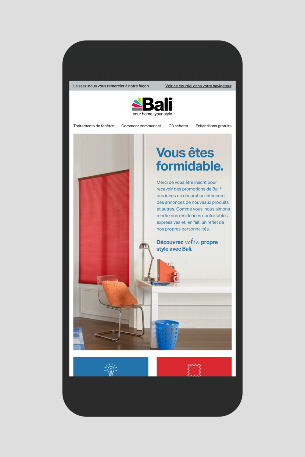 Bali email newsletter welcome email, in French