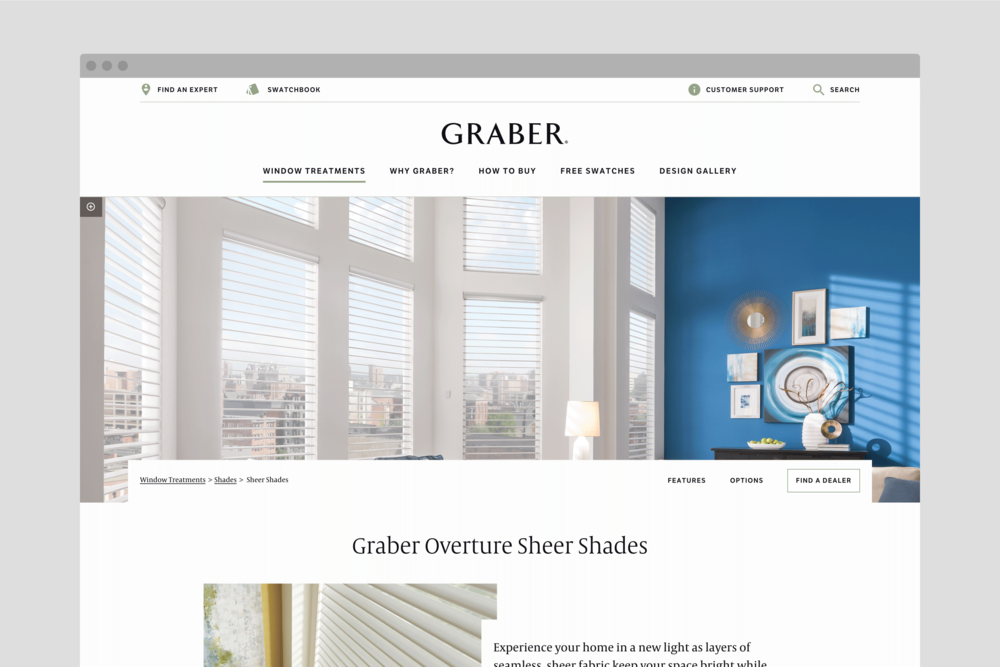 Graberblinds.com Sheer Shades product page