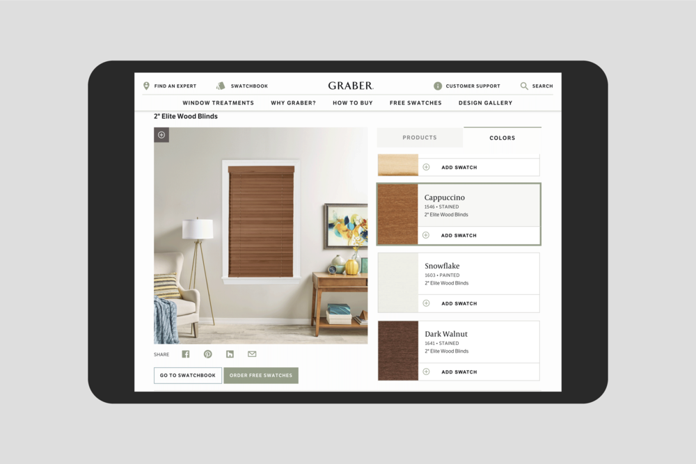 Graber Product Visualizer: Wood Blinds color selection