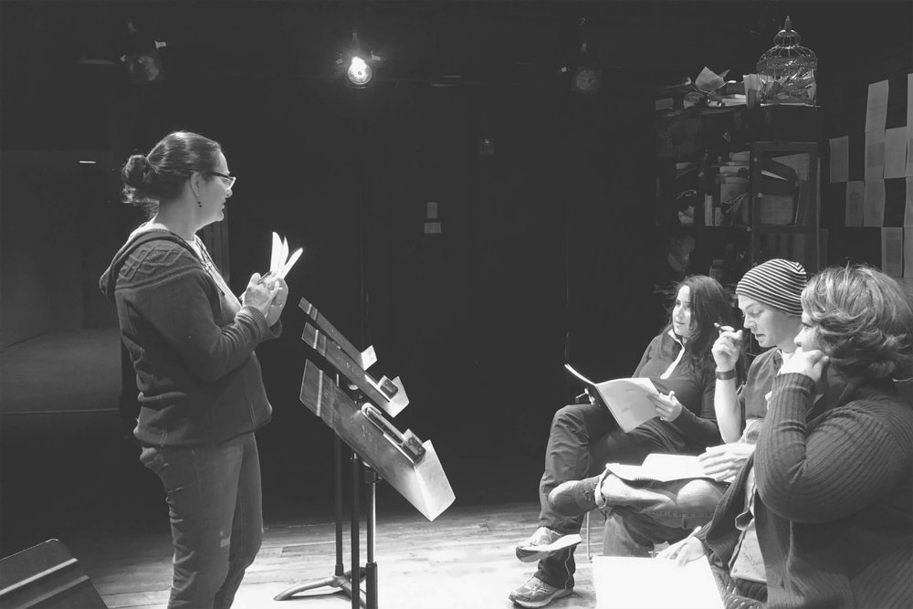 Gwendolyn Rice conducting a dramatic reading of her play in NYC