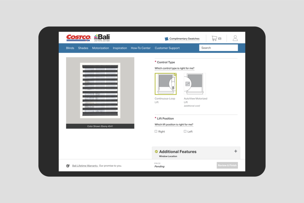 The Costco Bali product configurator: Control Type selection