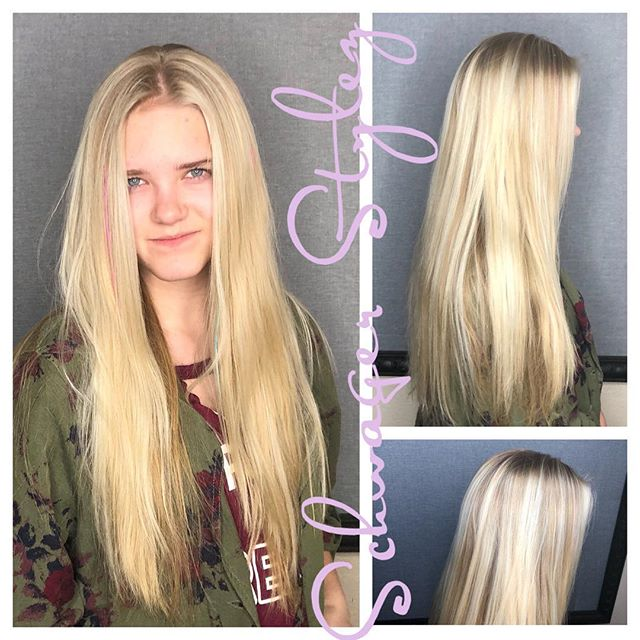 Because blonde long hair is just more fun!! A sweet subtle blonde pop!!! Is she a hair model yet? #schwagerstylez #blondehairdontcare #balayage #longhair #blondie #coloradospringsstylist #btc #modelinmaking #Godmadeherbeautiful