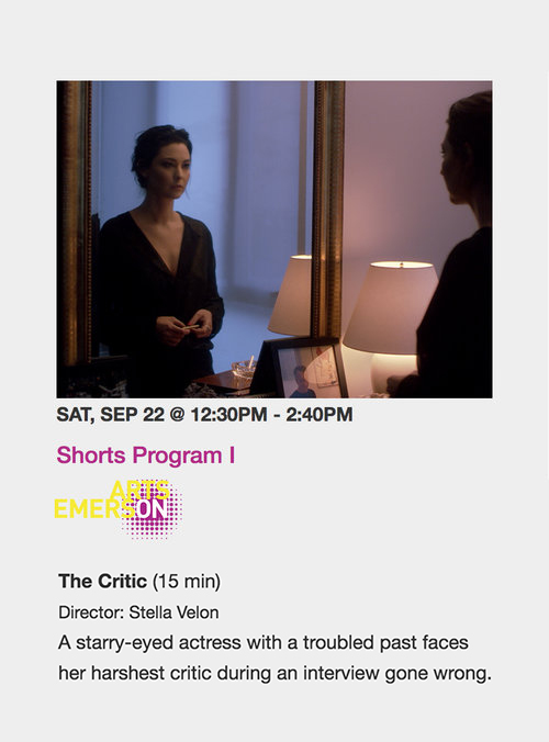 - Also catch a special screening of 'The Critic' closing the Shorts Program at the ArtsEmerson Theatre on Sunday September 23rd!