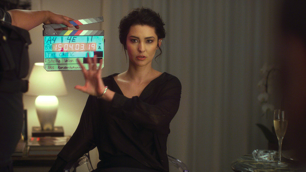 Director Stella Velon on the set of 'The Critic'