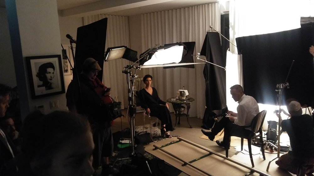 Stella Velon, Alan Smyth and crew on the set of 'The Critic'