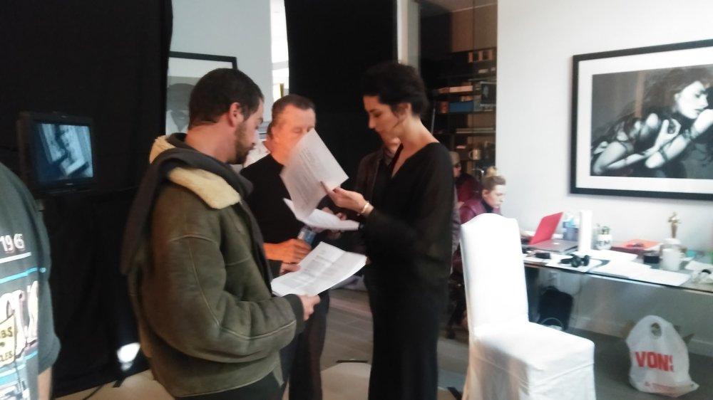 Director Stella Velon, Producer Jean Gabriel Kauss and 1st AD Karim Nabil on the set of 'The Critic'