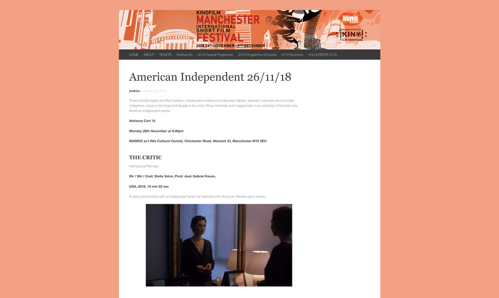 15th Edition Kinofilm Manchester | American Independents