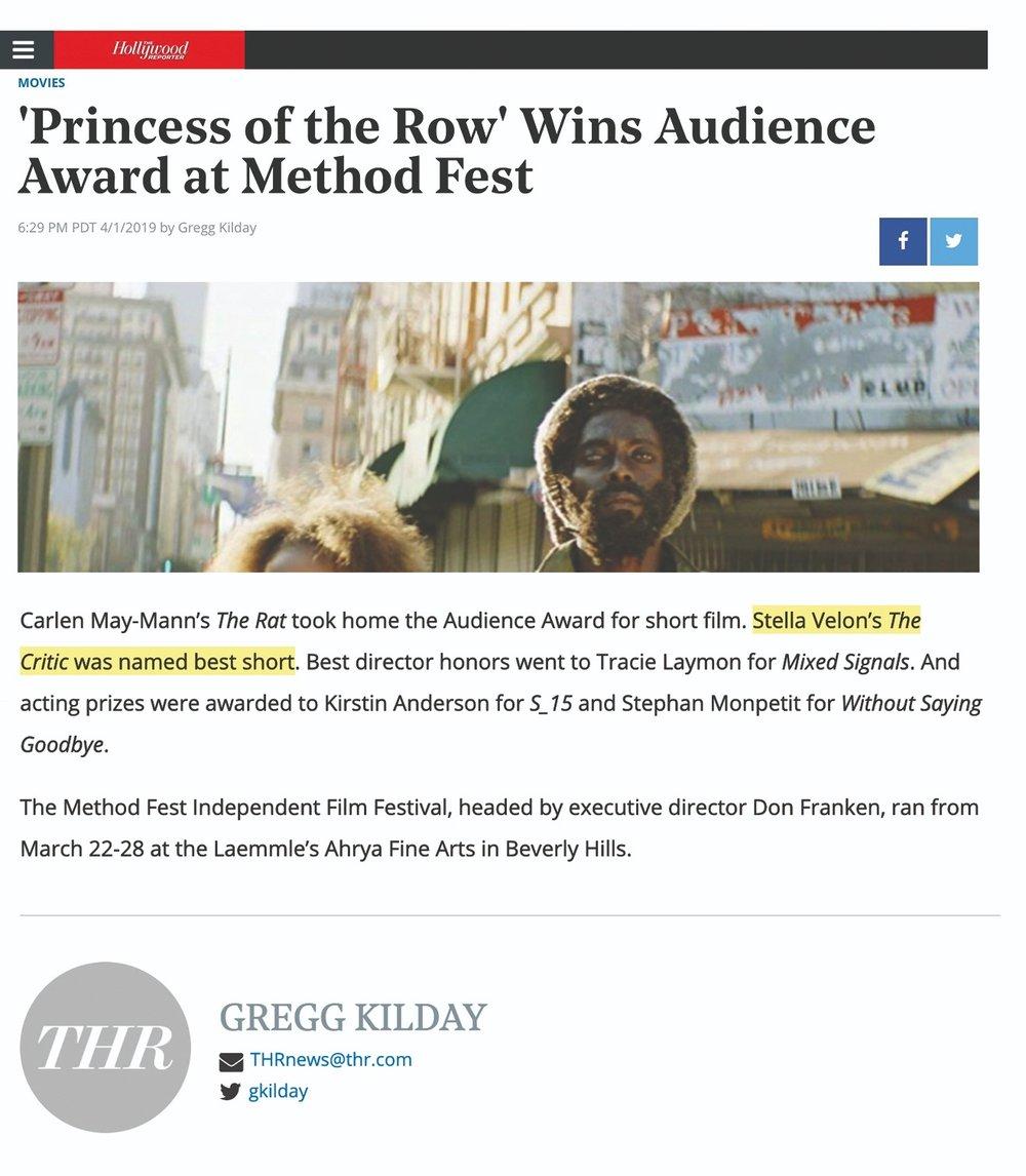 hollywoodreporter.com/news/princess-row-wins-audience-award-at-method-fest-1198694