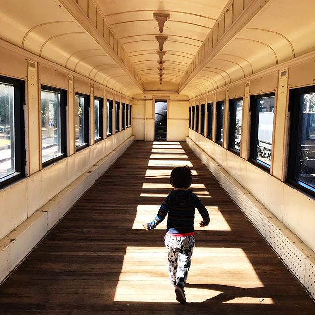 Did you know there's a place in Los Angeles where you can play inside old trains?! It's one of his happy places 😁🚂