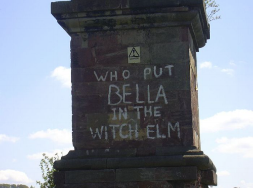 Wychbury Obelisk, Worcestershire, where the graffiti has remained since 1999.