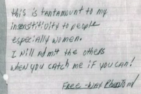 The note taunting police which was discovered in Brenda Woodward's pocket.