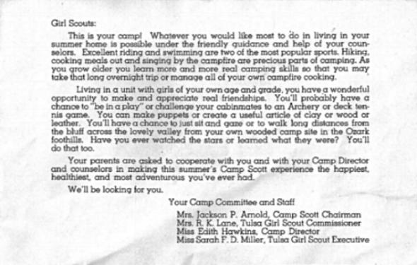 Message from Camp Scott leaflet, 1946 (Source: http://www.campscottmurders.com/home.html)