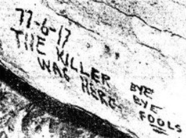 The note found on the wall of the cave. Note the interesting layout of the date.