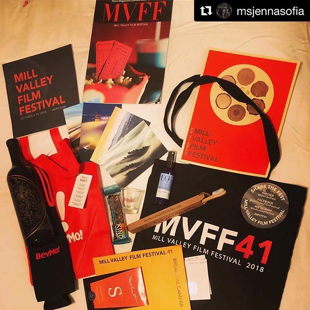 Swag bag + jet lag = a joyful and sleepy @msjennasofia  Now, bed. Tomorrow, @millvalleyfilmfest ! #womeninfilm #mvff41 #mvff #filmmaker #femalefilmmaker #swagbag #spoiled #vino #goonmakeagalfeelwelcome #joyasrebellion #millvalley