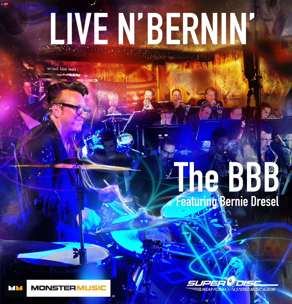 LIVE N' BERNIN' - This debut album and live performance took place in Burbank, California at Joe's Great American Bar & Grill, an intimate audience venue The BBB often performs in and whose acoustics are well suited to the project. The BBB performed two one-hour sets of jazz charts, with an initial 30 minutes securing sound checks. The emcee for the evening was Bubba Jackson, renowned KJAZZ 88.1 FM radio personality.