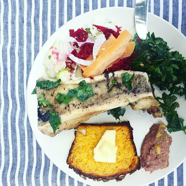Wowser!!! @helenpadarin knows how to make a gut and adrenal nourishing plate of goodness. The ultimate gut health meal - bone marrow, liver pate, grain-free pumpkin bread, parsley + caper salad, apple and fennel salad, beet and carrot trimmings. Wow, so impressive, thanks for sharing! How does your dinner plate compare to this? It's all about using everything from nose to tail, and all plant parts including the trimmings. The gut bacteria are going to LOVE this meal!  #guthealth #foodforthought #foodismedicine #liverpate #nourish #bonemarrow #grainfree #pumpkinbread #leakygut #microbiome #gutbacteria #paleo #gaps #gapsdiet #healthegut