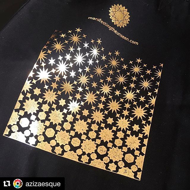 It's our favourite too @azizaesque and now available to buy online! .(While stocks last) 🤩🤩🤩 . #Repost @azizaesque ・・・ - I may be biased but this has to be my FAVOURITE tote bag of all time ✨ We've just launched a limited number of these for online orders ✨ click the link in bio to get one! - Fits A3, in shiny glittery gold foil on premium cotton canvas - Design by me for @manifestingtheunseen  With solid support from the amazing @pomegranates - Appropriate emoji: 🤩 - . #manifestingtheunseen #islamicgeometry #azizaesque #totebag #limitedediton #guestprojects #gifts #originalgifts #notonthehighstreet