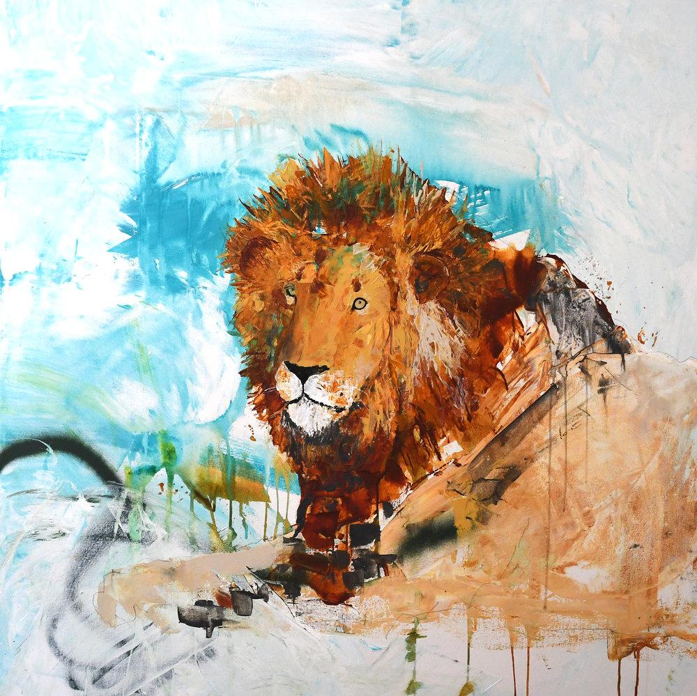 "King of Tintswalo  Acrylic, Graphite 48"" x 48"""