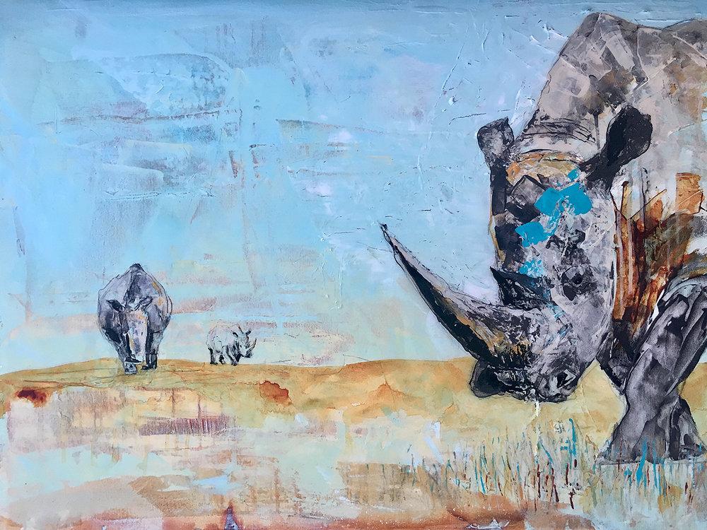 "Rhino Trio  Acrylic, Graphite, Resin 30"" x 48"""
