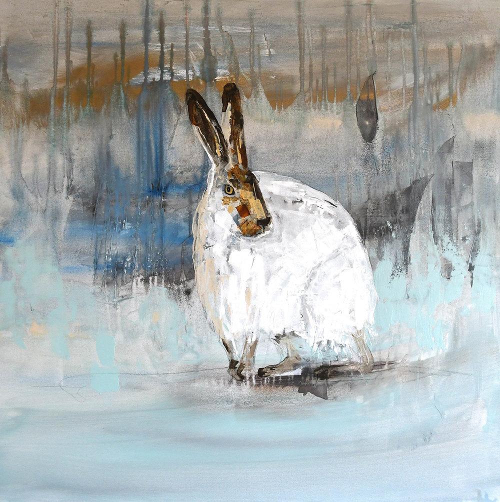 "Winter Hare  Acrylic, Graphite, Resin 36"" x 36"""