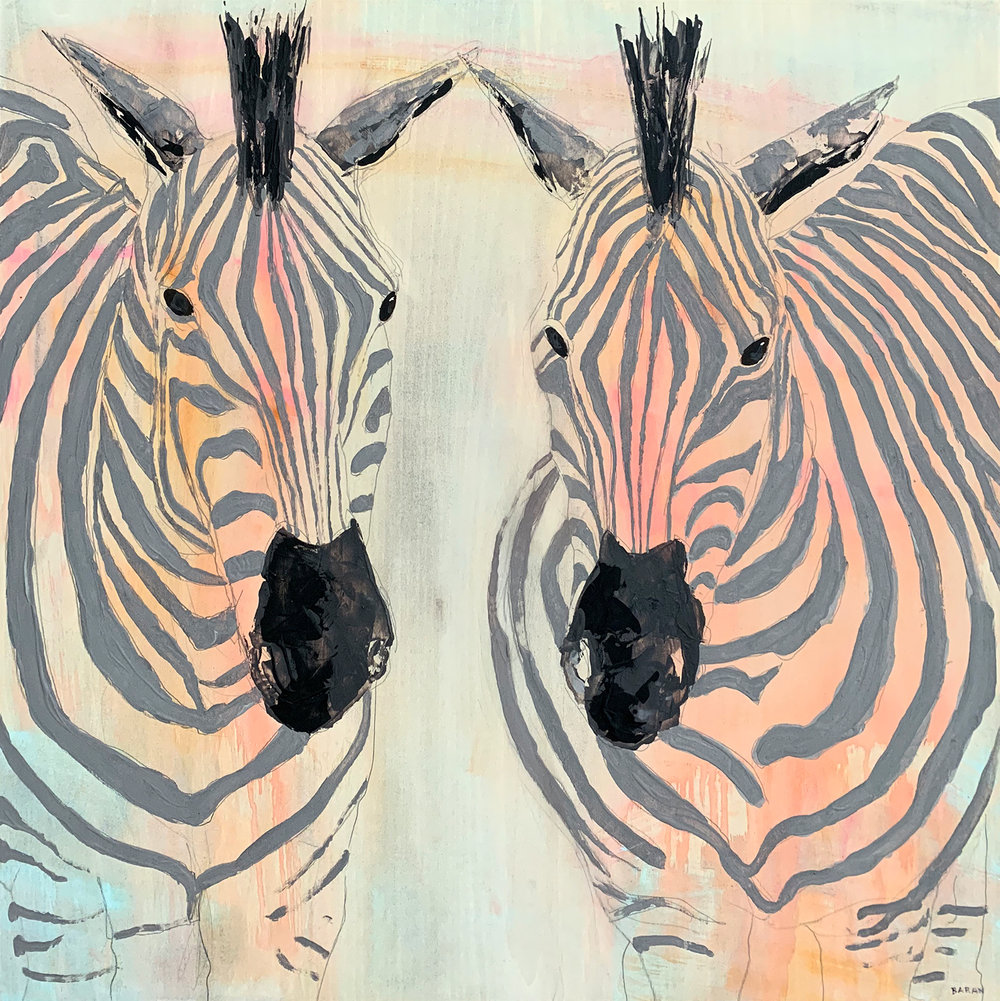 "Tintswalo Zebra Pair  Acrylic, Graphite and Resin on Wood 24"" x 24"""