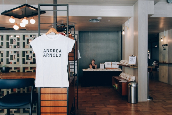 Andrea Arnold t-shirt and founder Louisa at the first pop-up shop in Curzon Aldgate, London hosted by Bechdel Test Fest, May 2017