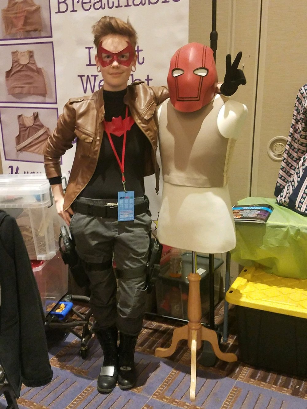 My favorite image from the weekend, me with our mannequin (rosemont) who wore my Red Hood helmet for the entirety of Saturday