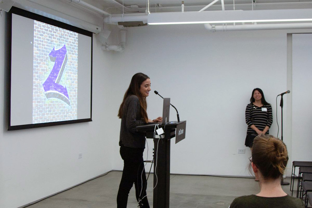 I had the honor to present my work at the monthly TypeThursday LA event held at the Hoffmitz Milken Center for Typography at ArtCenter College of Design. Here I am with my 'Graffiti Z.'